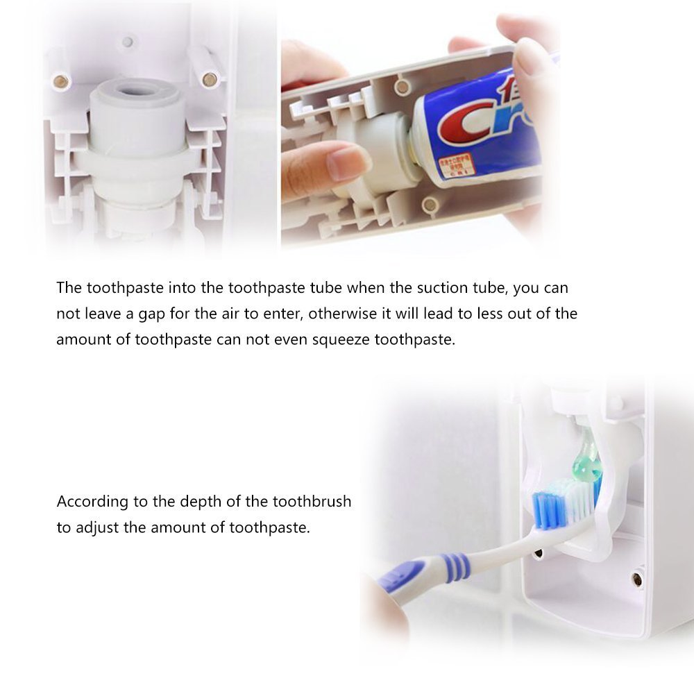 Amazon.com: SlenyuBridal Toothpaste Dispenser with Wall Mount Toothbrush Holder Toothpaste Squeezer with 5 Brushes Set Kids Hands Free for Shower Bathroom ...
