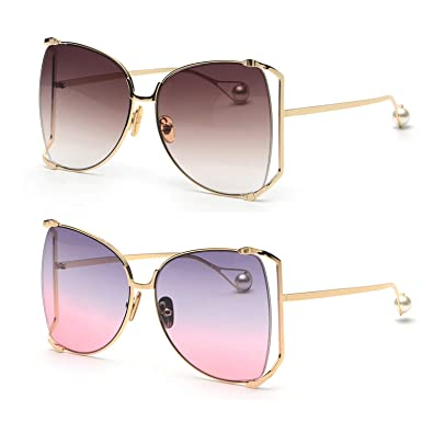 c21e3acb89ea Image Unavailable. Image not available for. Color  FAGUMA Oversized  Sunglasses For Women Semi Rimless Brand Designer Shades