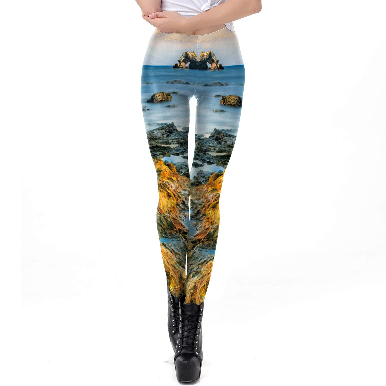 MAOYYMYJK Yoga-Hose Für Damen Frauenfüße Leggings 3D Desert Island Digitaldruck Leggings Frauen