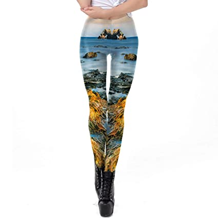 Zhuxin Moda Tendencia Diseño Mujeres Leggings 3D Impreso Paisaje Mar Reef  Surf Navidad Pantalones Medias para 20d7ad77b29
