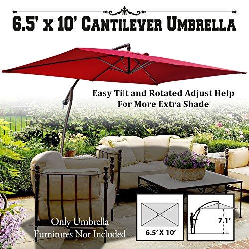 BenefitUSA 10'x6.5' Cantilever Banana Umbrella Patio Offset Parasol Garden Outdoor Sunshade Hanging Market---360'C Rotational Function (Burgundy)
