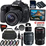 Canon EOS 80D DSLR Camera with 18-55mm Lens 1263C005 (International Version) + Canon EF 100mm f/2.8L Macro IS USM Lens 3554B002 + 128GB Class 10 Memory Card + LP-E6N Lithium-Ion Battery Bundle