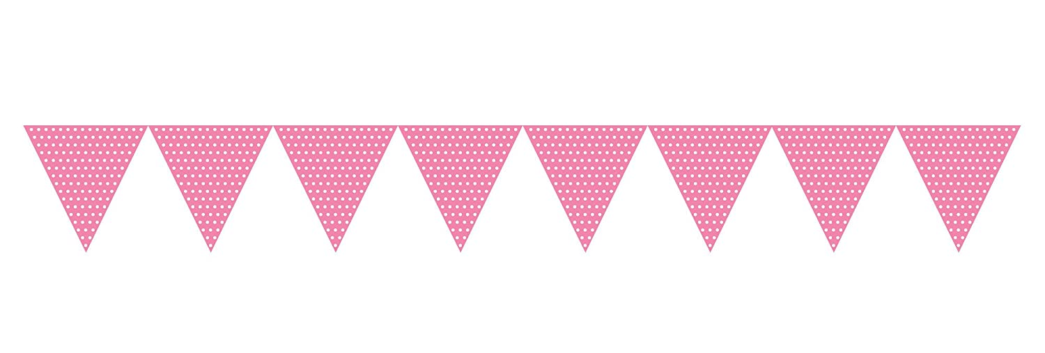 Creative Converting 293313 Flag Banner 6 x 9 Pink