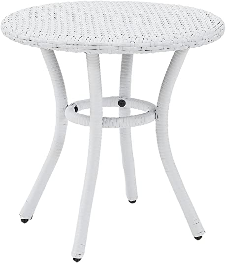 Crosley Furniture CO7217-WH Palm Harbor Outdoor Wicker Round Side Table, White