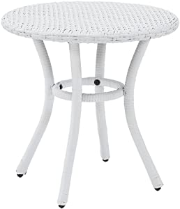 Crosley Furniture Palm Harbor Outdoor Wicker Round Side Table - White