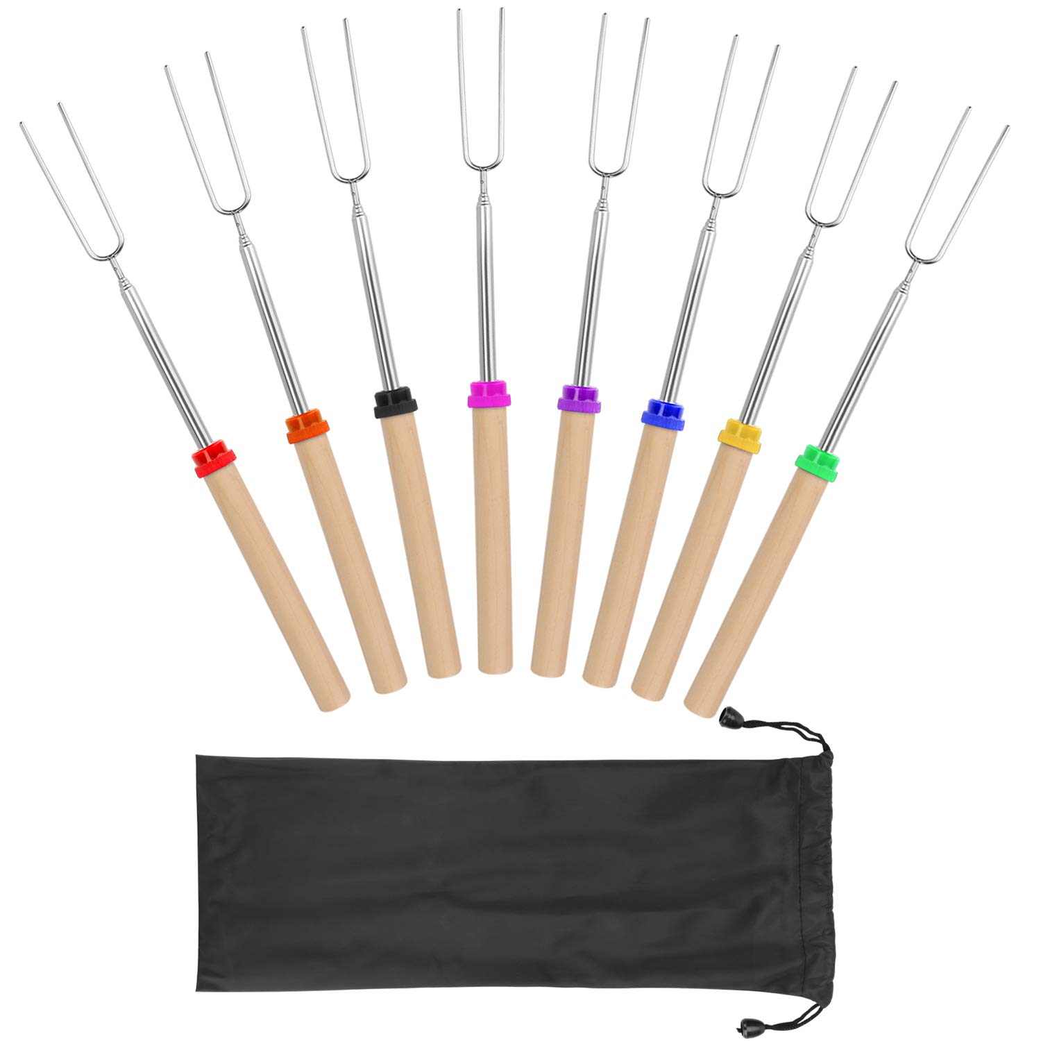 Marshmallow Roasting Sticks with Wooden Handle Extendable Forks Set of 8 Pcs Telescoping Smores Skewers for Campfire, Firepit, and Sausage BBQ, 32 Inch