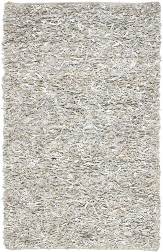 Safavieh Leather Shag Collection LSG511C Hand Woven White Leather Area Rug (5' x 8') (Handmade Modern Contemporary Area)