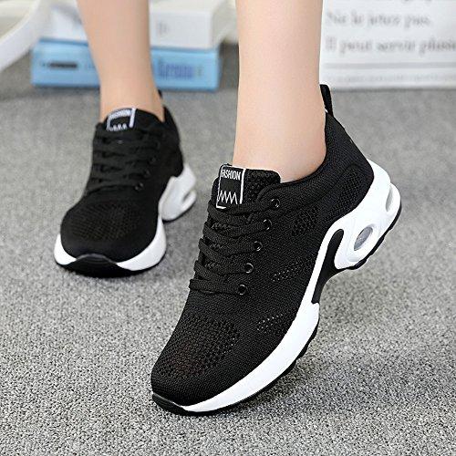 Femme Sport Chaussures de Course Lacets Air Coussin Fitness Running Sneakers 4cm Noir Rouge Rose Violet 35-40 Noir xm6RkrD