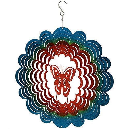 Sunnydaze Reflective 3D Whirligig Butterfly Wind Spinner with Hook, (Butterfly Wind Spinner)