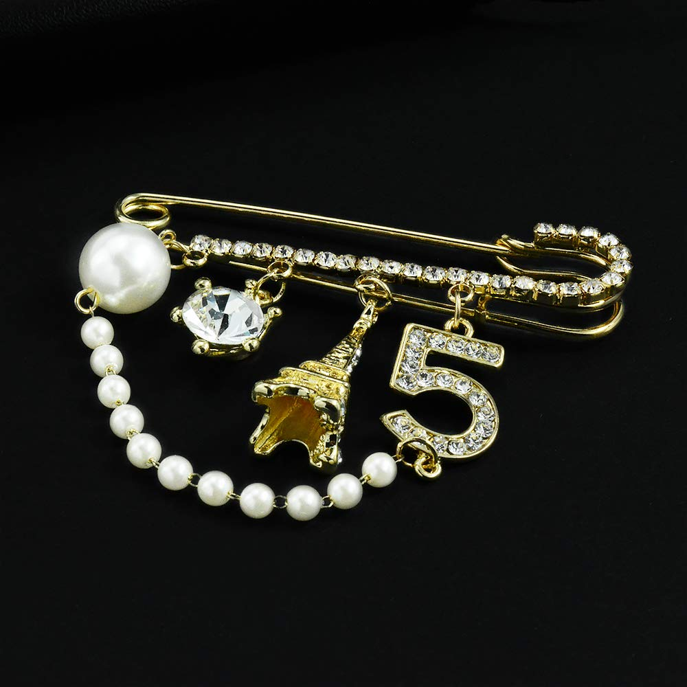 41f0721f0c1 Amazon.com: Mamfous Vintage Crown Number 5 Lapel Pins and Brooches for Women  Rhinestone Jewelry with Simulated Pearl: Jewelry