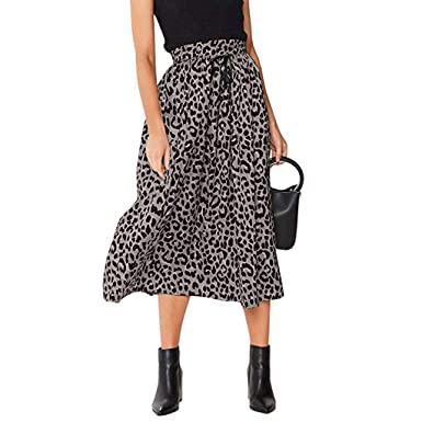 a7ada58a5a Womens Boho Tie Up Maxi Skirt High Waisted Elastic Leopard Print Drawstring  Pleated Summer Beach Skirts