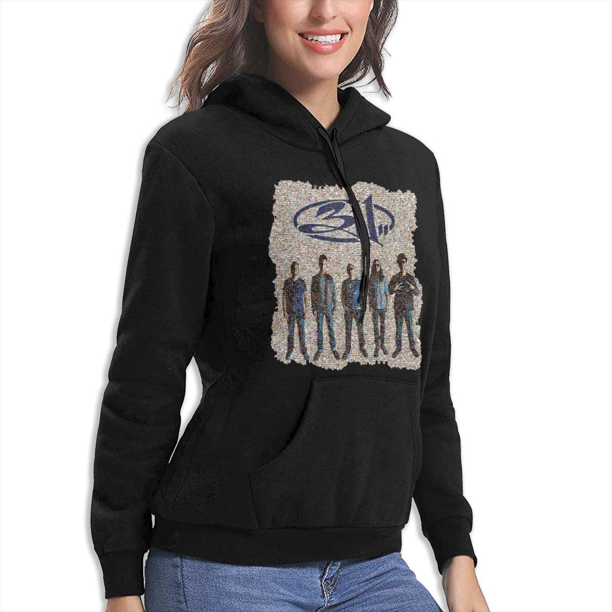 Black Melody 311 Mosaic Womens Hooded Pocket Casual Sweater