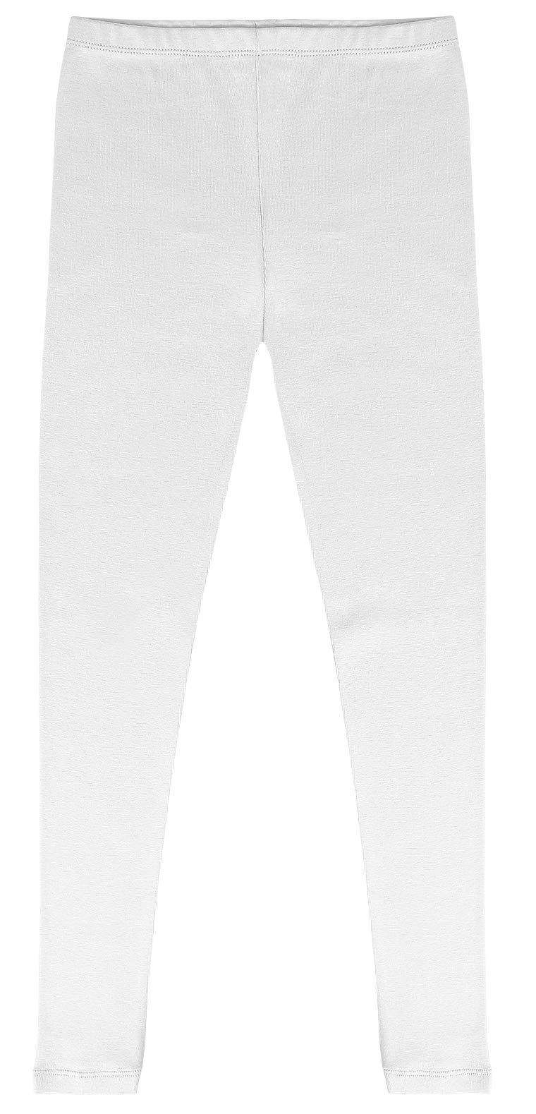 CAOMP Girls'%100 Organic Cotton Leggings for School or Play (11-12, White)