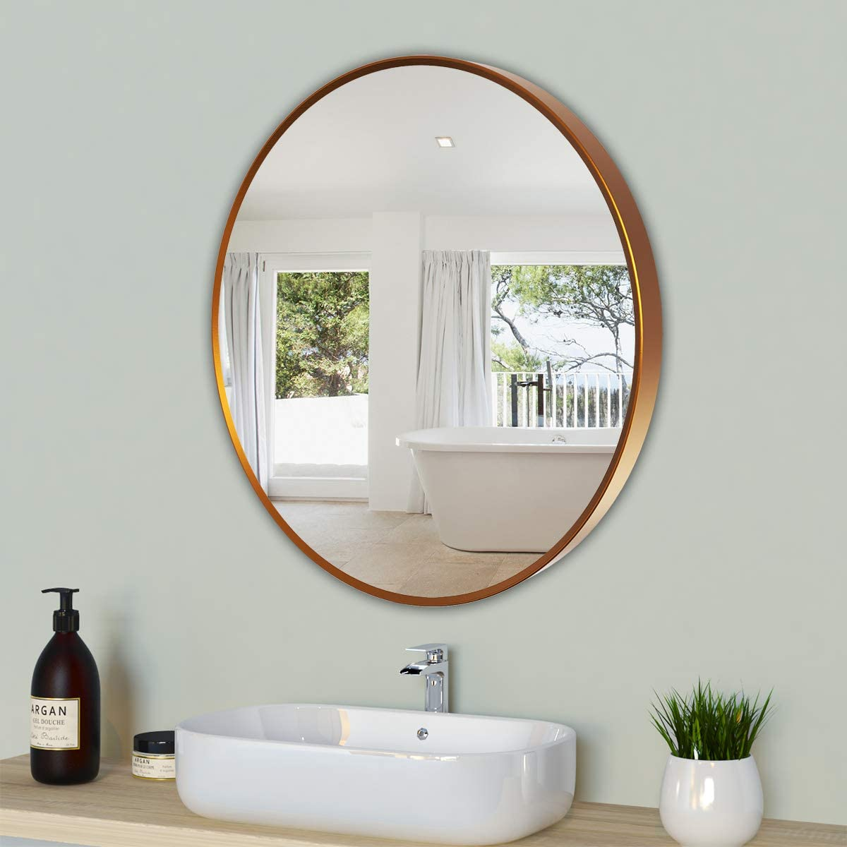Deby Wall Mirror , Round Mirror with Brushed Metal Frame,24inch Copper Mirror,Rustic Mirror for Bathrooms Livingroom Hallway ,Circle Mirror,Home Decor