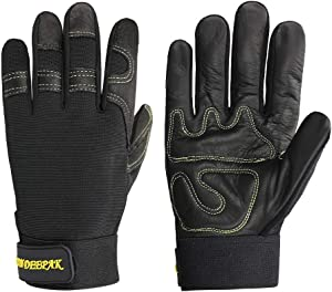 OLSON DEEPAK Durable and Remarkable protection for Carpentry/Yard/Rose Working/Auto Work - Cowhide Leather Glove for Heavy duty, Wood Working, Construction, Garden, Farm (Medium, Black)