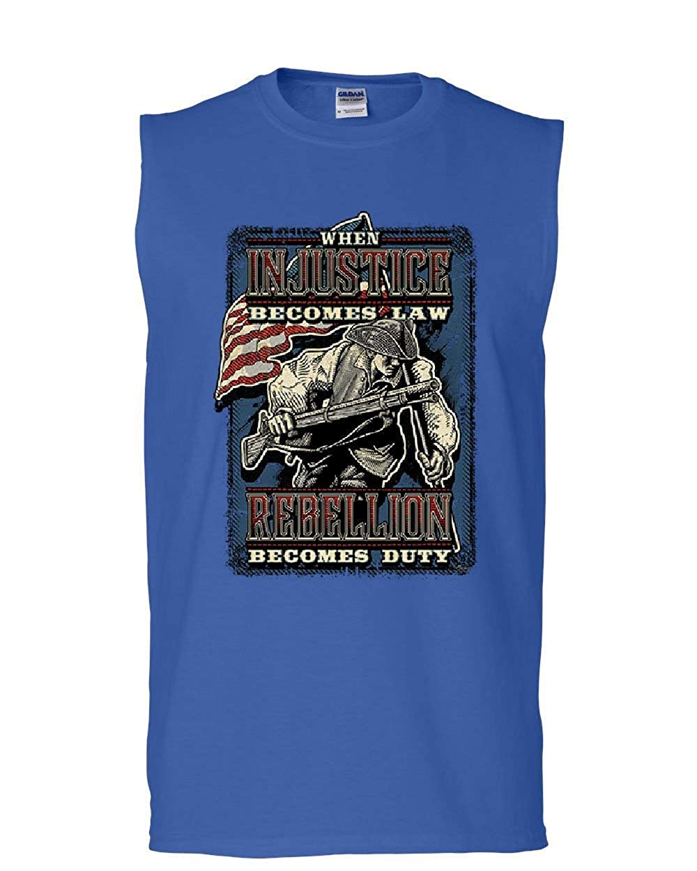 Tee Hunt Injustice Becomes Law Rebellion Becomes Duty Muscle Shirt Militia 2A Sleeveless