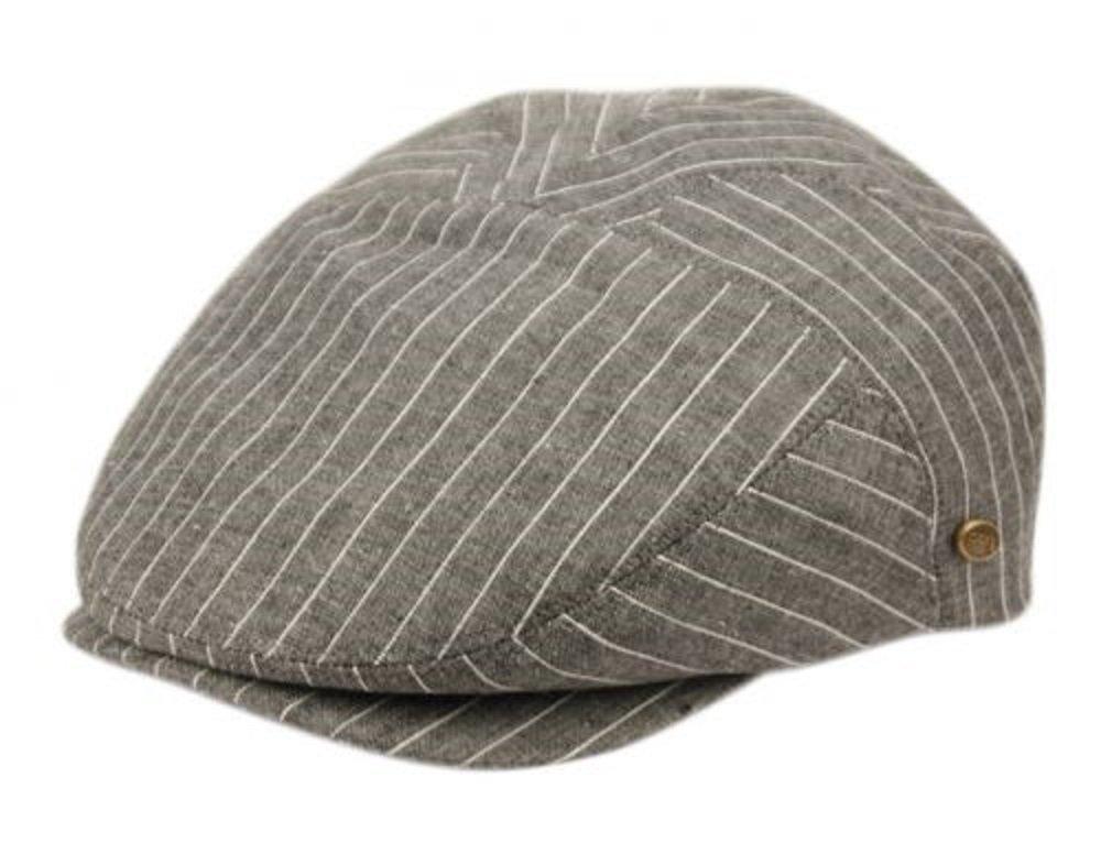 Epoch Men's Cotton Flat Ivy Caps Summer Newsboy Hats (L/XL, Gray Stripe)
