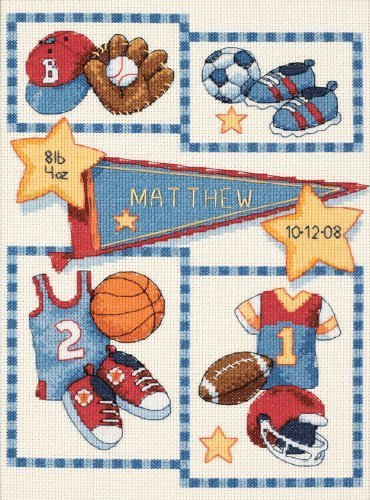 - Dimensions Needlecrafts Counted Cross Stitch, Little Sports Birth Record by EKS
