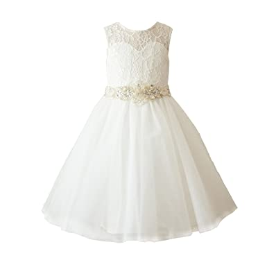 76ad8aa1205 Amazon.com  Miama Ivory Lace Tulle Wedding Flower Girl Dress Toddler ...