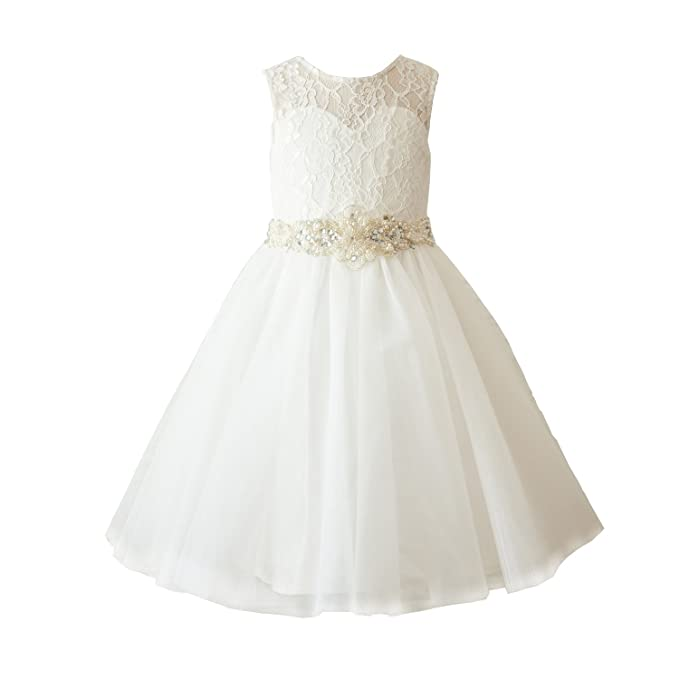 4b00c9a77f Amazon.com  Miama Ivory Lace Tulle Wedding Flower Girl Dress Toddler Girl  Dress  Clothing