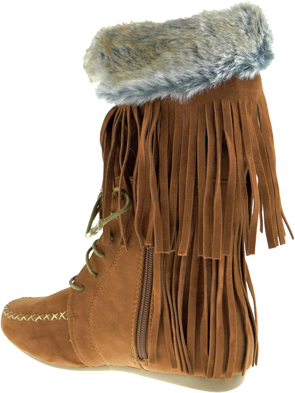 Cherokee 12 Womens 2 Layer Fringe Moccasin Mid-Calf Boots Black
