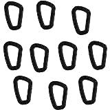 Lot de 10pcs Mousqueton Clip Support Crochet Porte-clés pour Camping Randonnée - Noir
