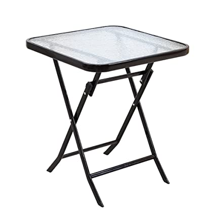 Beau YXX  Small Outdoor Folding Glass Dining Table For Camping Portable Square  Garden Side Tables Folding