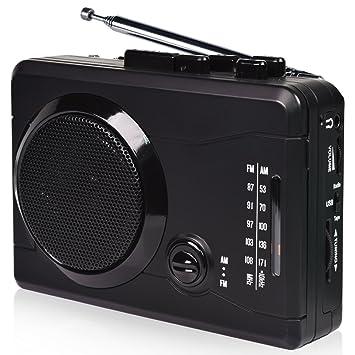 USB Convertidor y reproductor de cinta casetes,Convertir audio cassette a MP3 digital,Radio casetes portátiles con auriculares y Altavoz incorporado: ...