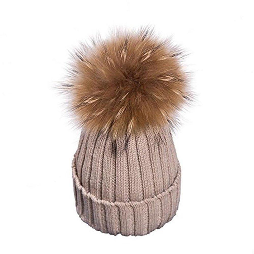 Unisex MMTX Donna Invernale Cappello Maglieria Hedging Beanie Cappelli Caldo Outdoor Hat con Chunky Faux Pelliccia Bobble Pompoms