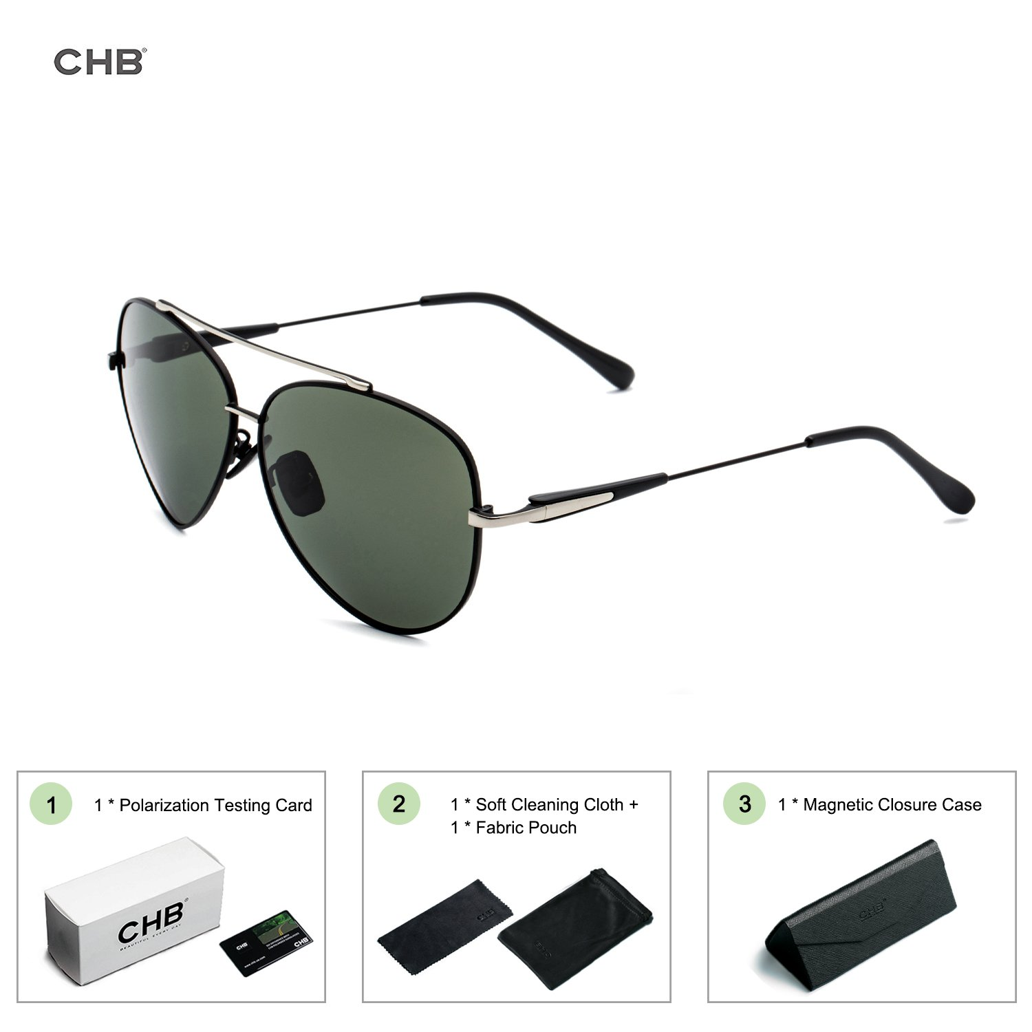 3529c68b63c CHB Aviator Style Sunglasses Men s Polarized With Case Light-weighted  Classic Metal Frame UV400 Protection  Amazon.co.uk  Sports   Outdoors