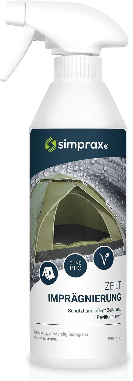simprax® Impermeabilizante para tienda de campaña, 500 ml, aerosol impermeabilizante – GOTS, Oeko-Tex, resistente a los rayos UV, biodegradable, vegano