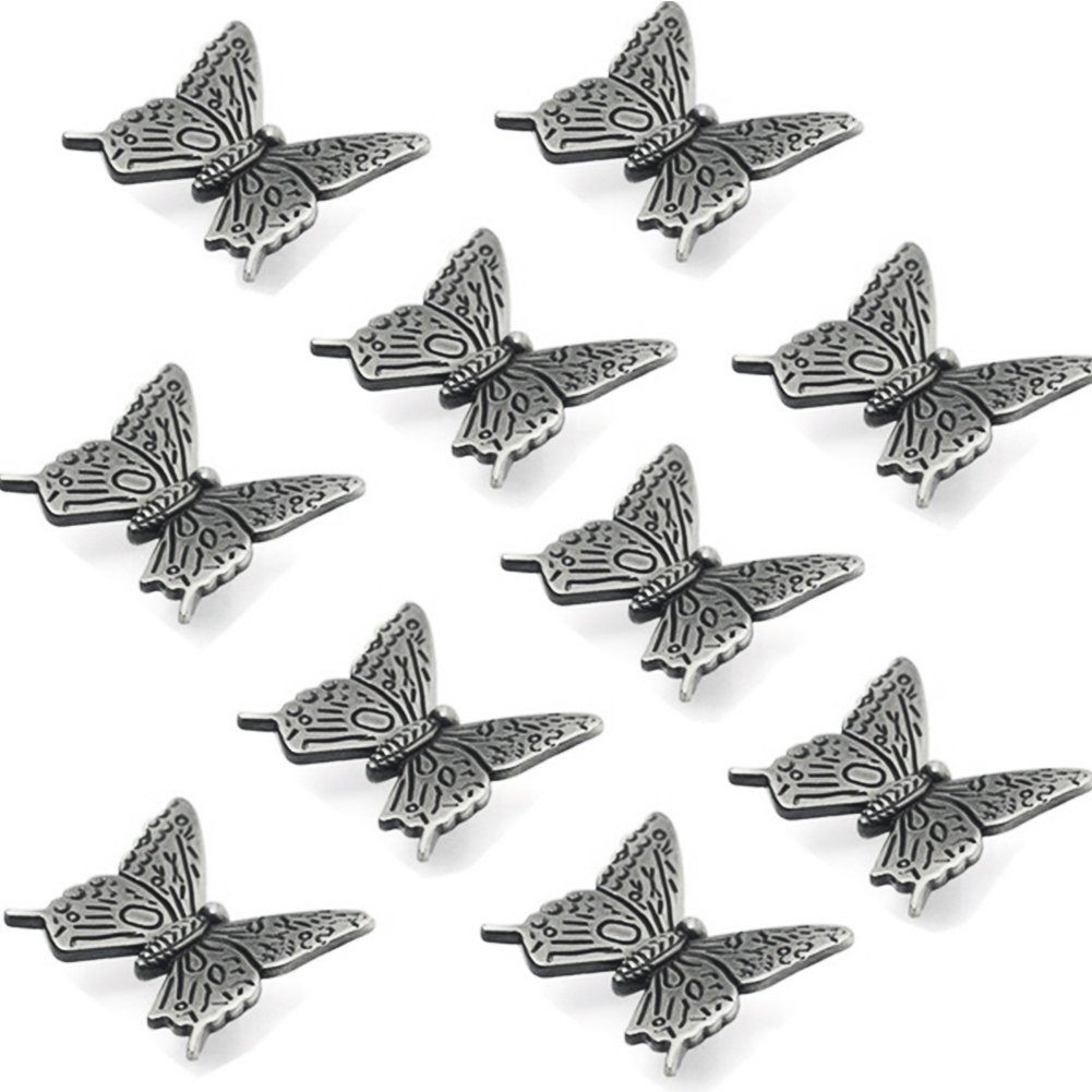 10 Pcs Butterfly Alloy Cabinet Knobs, 43mm Butterfly Shape Drawer Kitchen Cabinets Dresser Cupboard Wardrobe Pulls Handles (as Shown)
