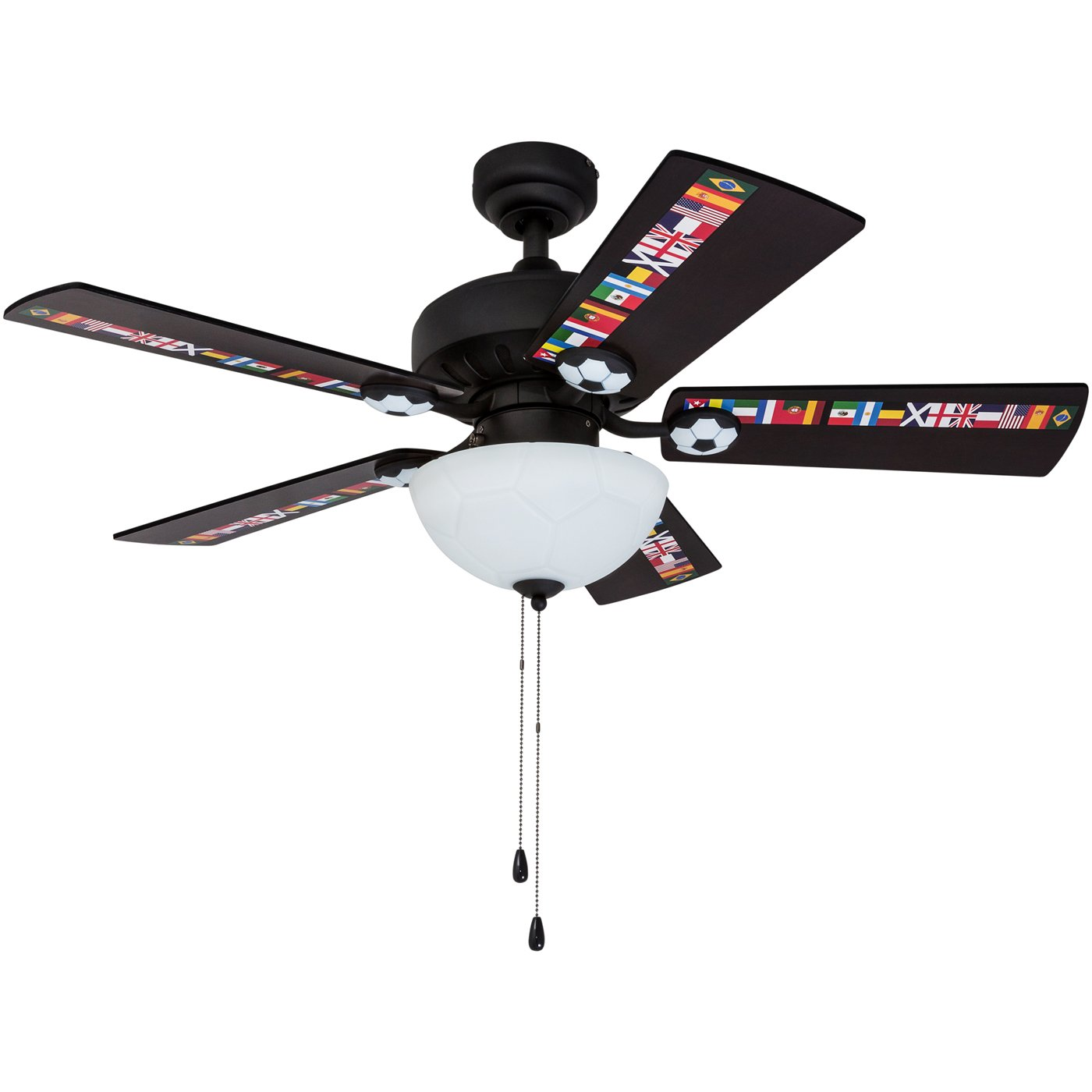 Prominence Home 40274-01 Soccer Ceiling Fan International Sports, 42'', Black