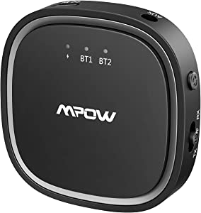 Mpow Bluetooth 5.0 Transmitter Receiver, 2 in 1 Bluetooth Audio Adapter, 3.5mm AUX/Low Latency/HD, for TV/Home Sound System/Car/Nintendo Switch