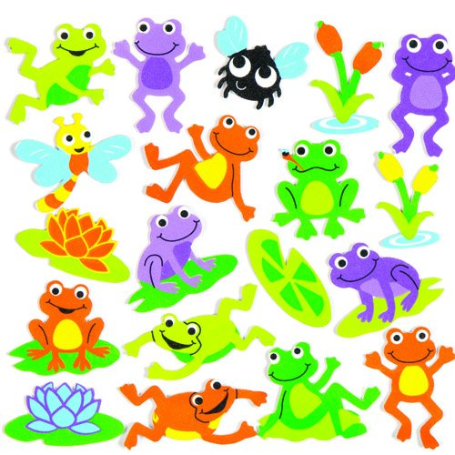 Baker Ross Funky Frog Stickers for Children to Decorate and Personalize Crafts & Spring Cards - Scrapbooking Embellishment for Kids (Pack of 120)