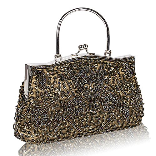 Bag coffee NVBAO Beaded Evening Kissing Satin Bags£¬24 Design Womens Sequin Clutch X Frame Metal 22cm Lock EEq4ZRwpr