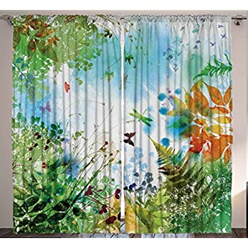 This Item Living Room Curtains Nature Home Decor By Ambesonne Spring Greenery Butterflies Flowers Birds Floral Image Print Window Drapes 2 Panel Set For