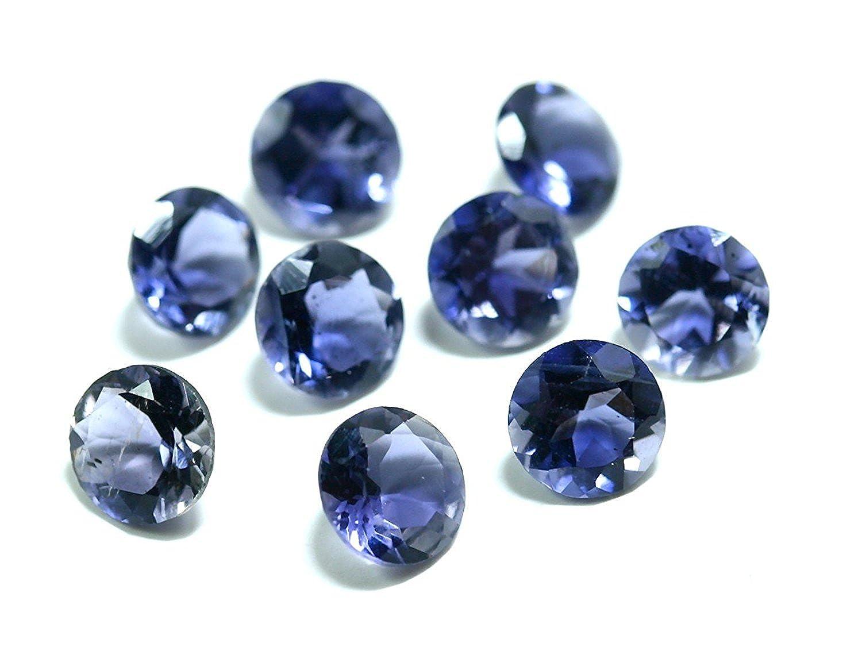 ブルー自然orissa-indianアイオライトAAA品質1.75 MMカットラウンドLoose宝石 ブルー 200  B07B4VJ1ZV