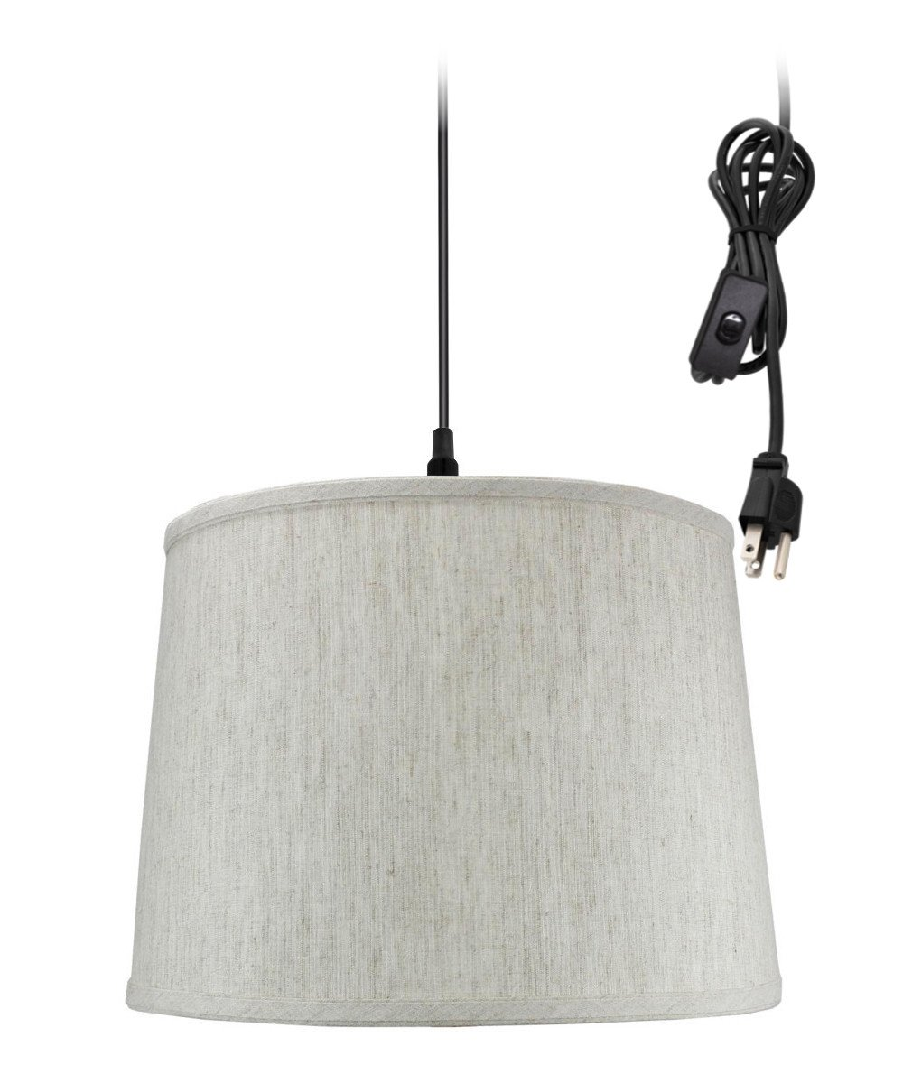 Plug in pendant light by home concept hanging swag lamp textured oatmeal drum shade perfect for apartments dorms no wiring needed textured