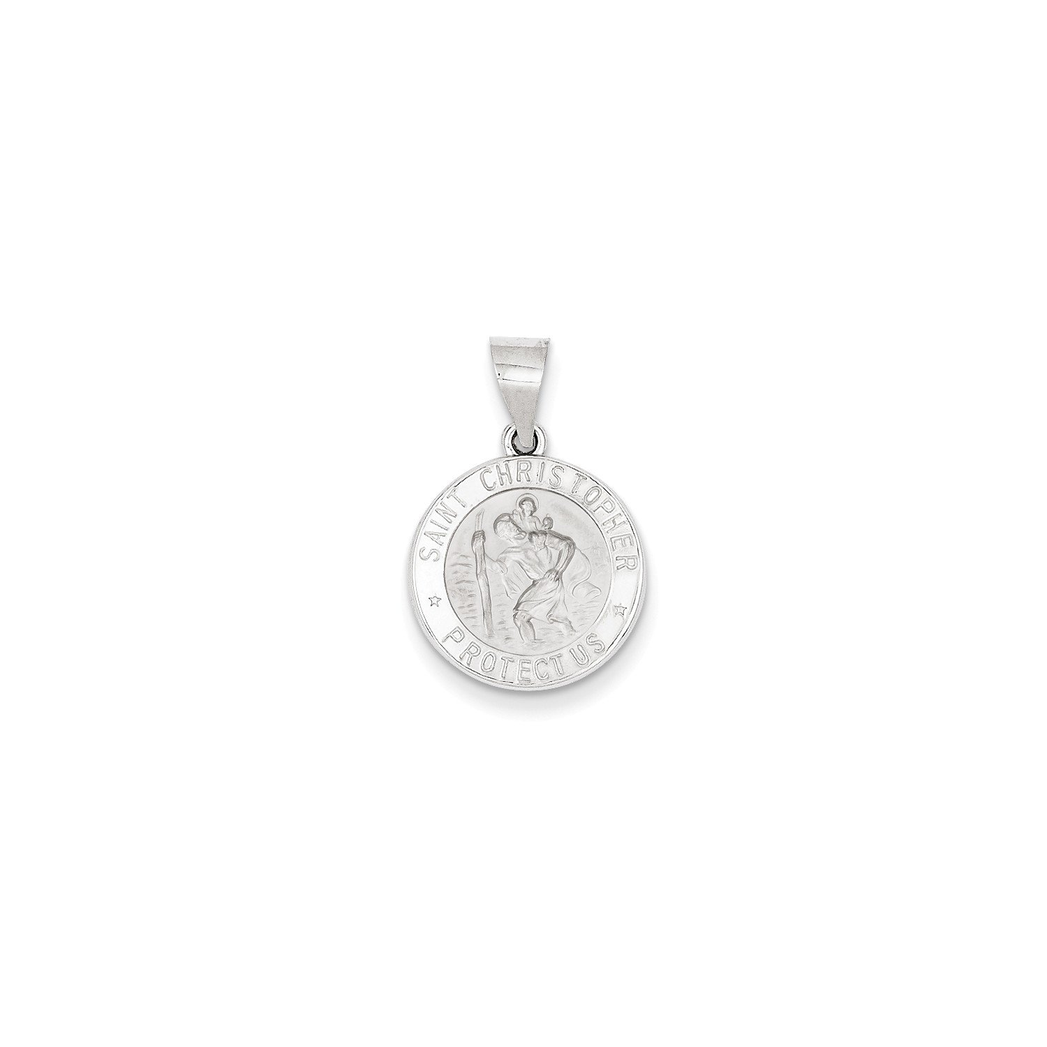 Roy Rose Jewelry 14K White Gold Polished and Satin St. Christopher Medal Pendant 15mm width
