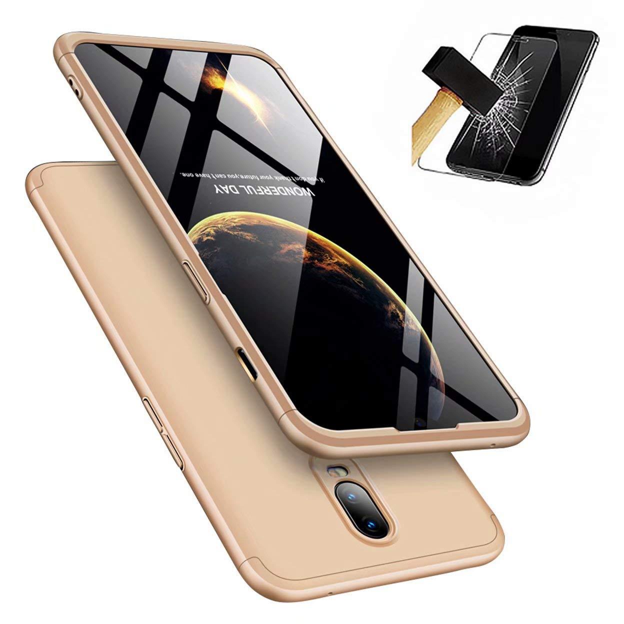 OnePlus 6ケース、[スクリーンプロテクター]付きOne-Protectiveシェル付きLaixin 360°フルカバーPC 3、OnePlus 6用超薄型バンパー(ゴールド)   B07L5PM178