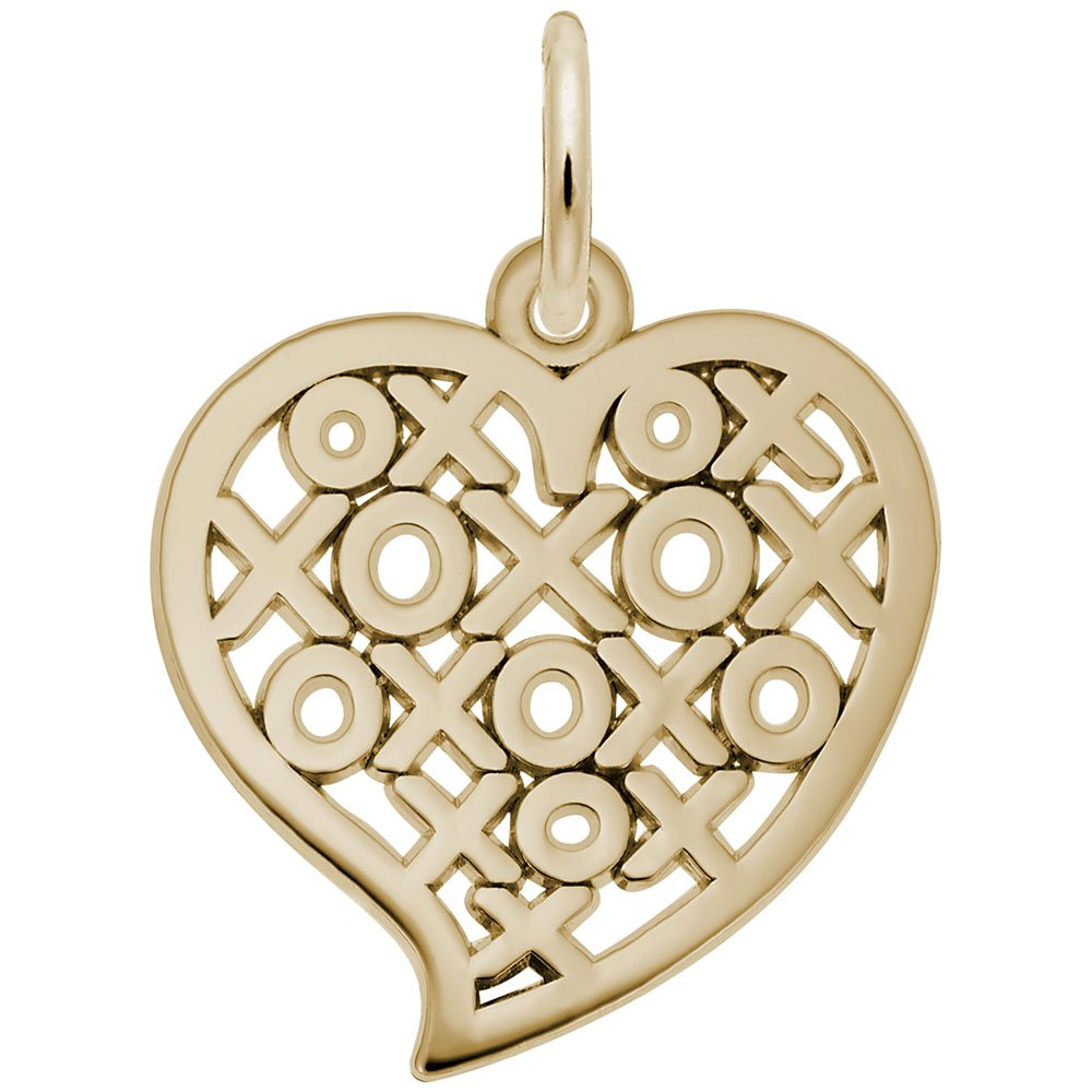Rembrandt Charms, Hugs and Kisses Heart, 14k Yellow Gold by Rembrandt Charms