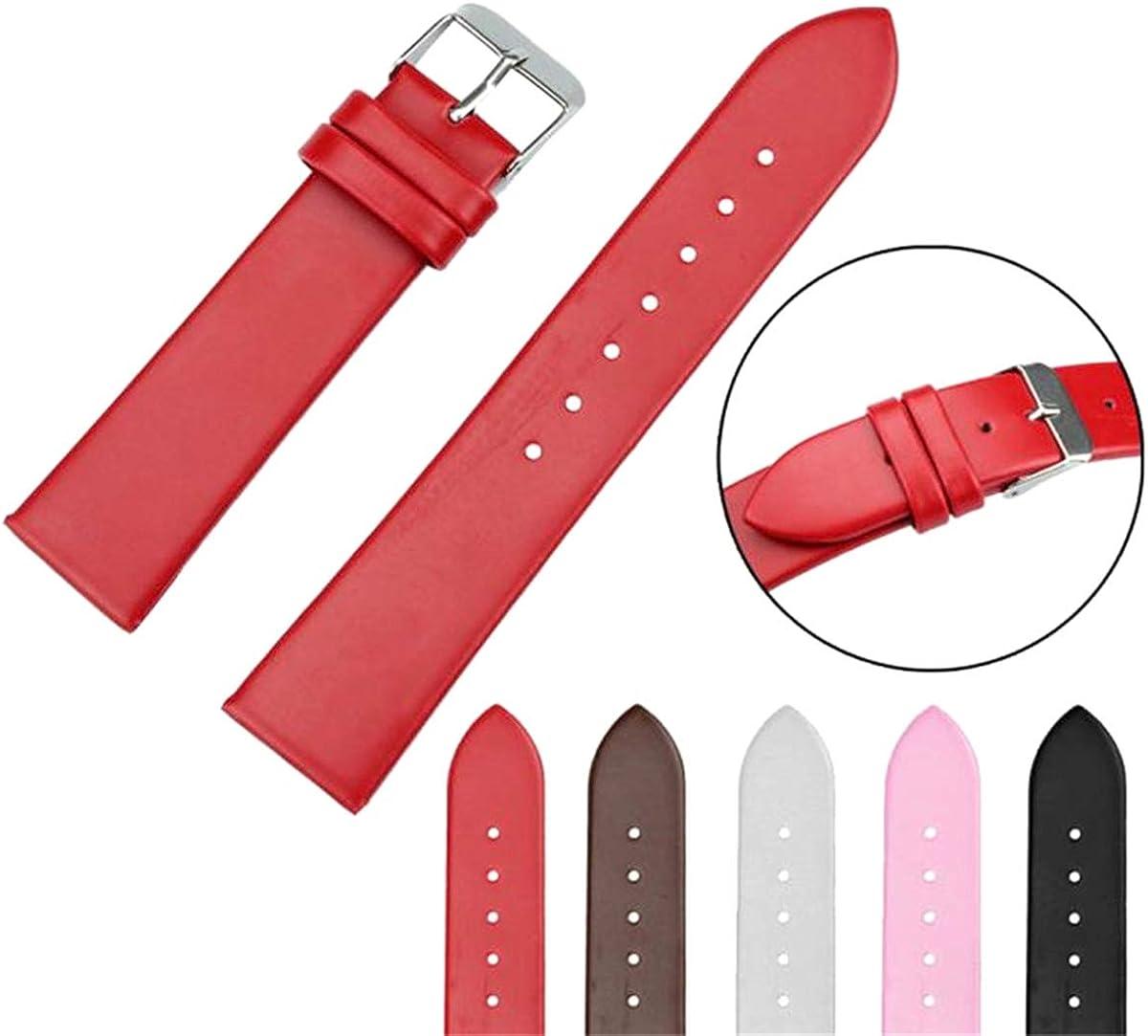 20mm Noir Café Rose Rouge Blanc Femmes Bracelet en Cuir Montre Tresse Simple Bande D'armure en Acier Inoxydable Boucle Black
