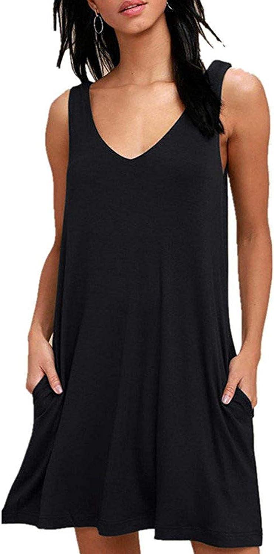 /Ärmelloses Kleid Damen Sommer T-Shirt Swing Kleid Casual Lose V-Ausschnitt Kurzen Blumen Bedrucktes Strandkleider mit Taschen