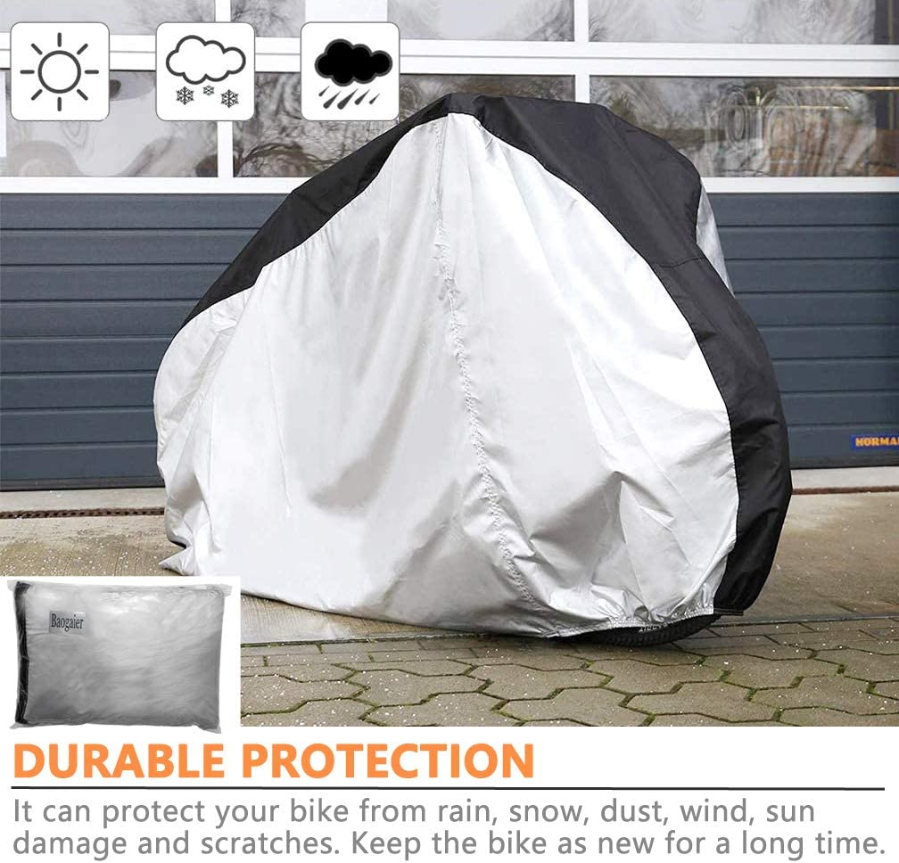 Black Sliver Road Bike//Bicycle with Lock Holes and Storage Bag perfect for Mountain Baogaier Bike Cover Waterproof Outdoor Rainproof Anti-UV Dustproof Bicycle Cover 190T for 2 Bikes
