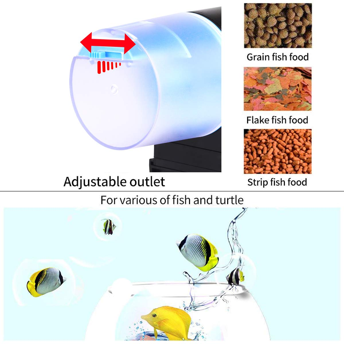 Aollan Automatic Fish Feeder Turtle Feeder Turtle Feeder Powered by USB DC 5V or Battery Programmable Food Dispenser for Fish and Turtle by Aollan (Image #5)