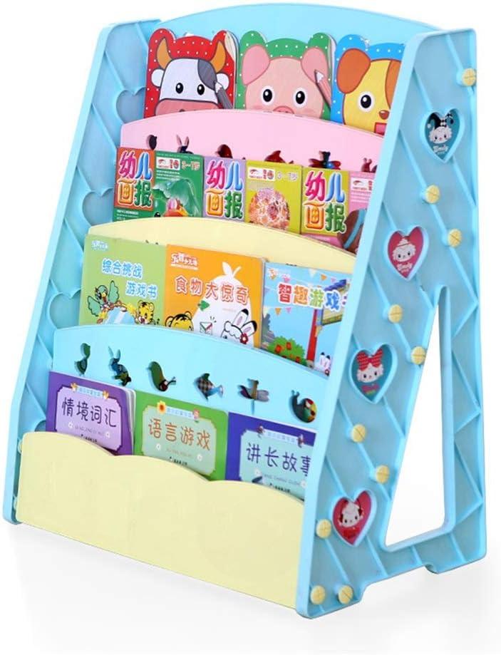 子供用おもちゃの本棚 子供のプラスチック製の小さな本棚は丈夫で耐久性のあるおもちゃ収納ラックを子供します (色 : 青)