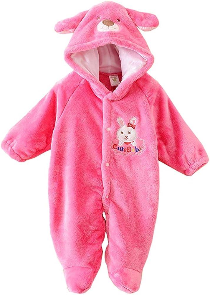 Newborn Baby Autumn/&Winter Romper Cartoon Animals Pattern Cotton Hooded Jumpsuit