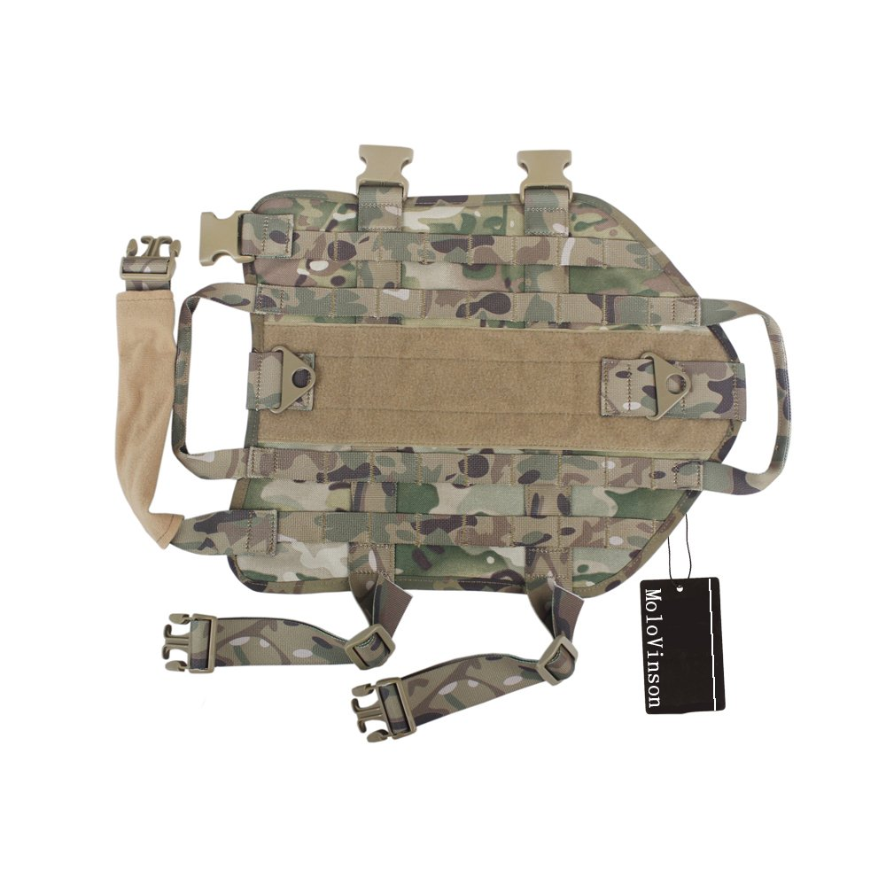 MoloVinson Tactical Dog Molle Vest Harness Training Camping Dog Vest with Two Handles Military Patrol K9 Dog Harness for Small Medium & Large Dog by MoloVinson (Image #4)