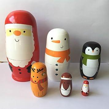 6pcs Animals Wooden Nesting Doll Russian Babushka Matryoshka Decoration Gift